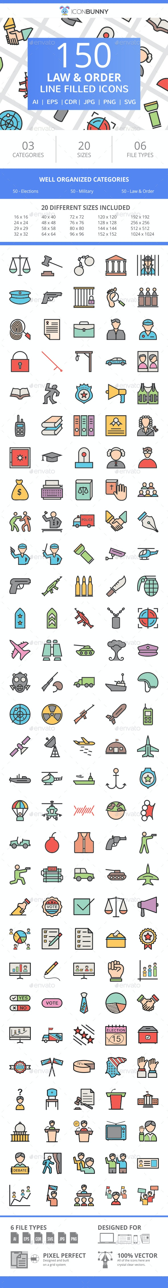 150 Law & Order Filled Line Icons - Icons