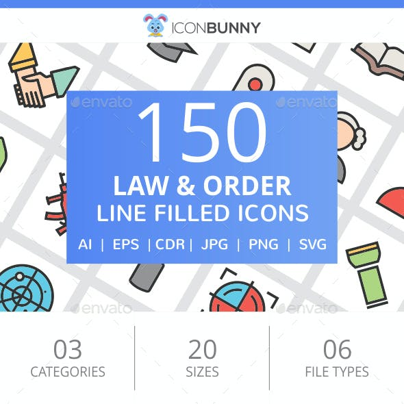 150 Law & Order Filled Line Icons
