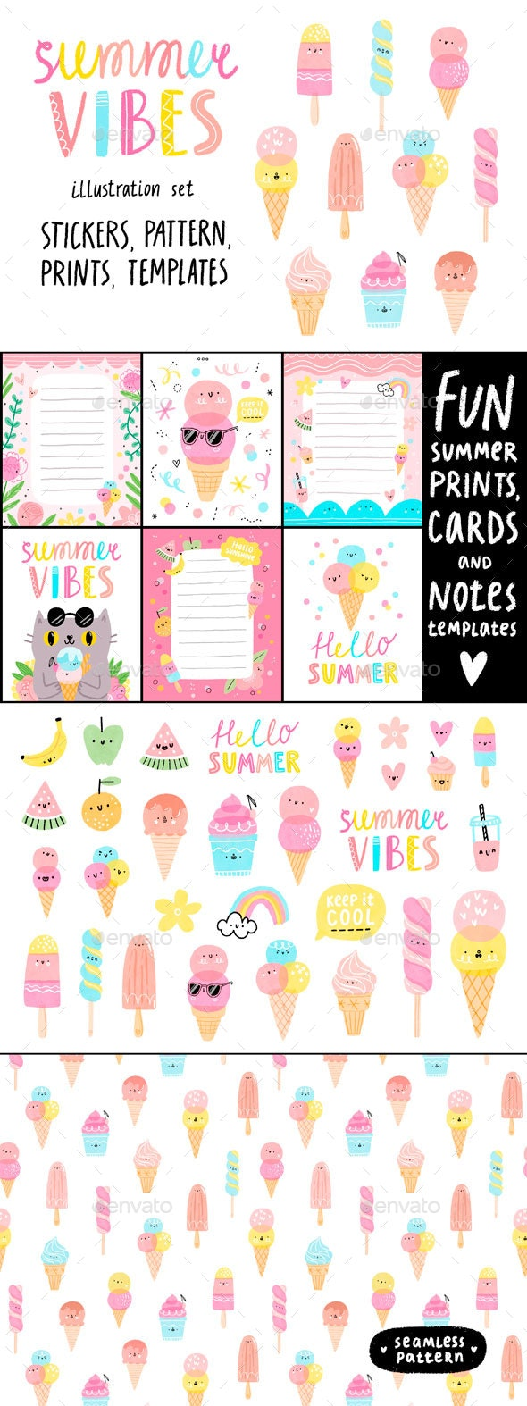 Summer Vibes Illustration Set - Illustrations Graphics