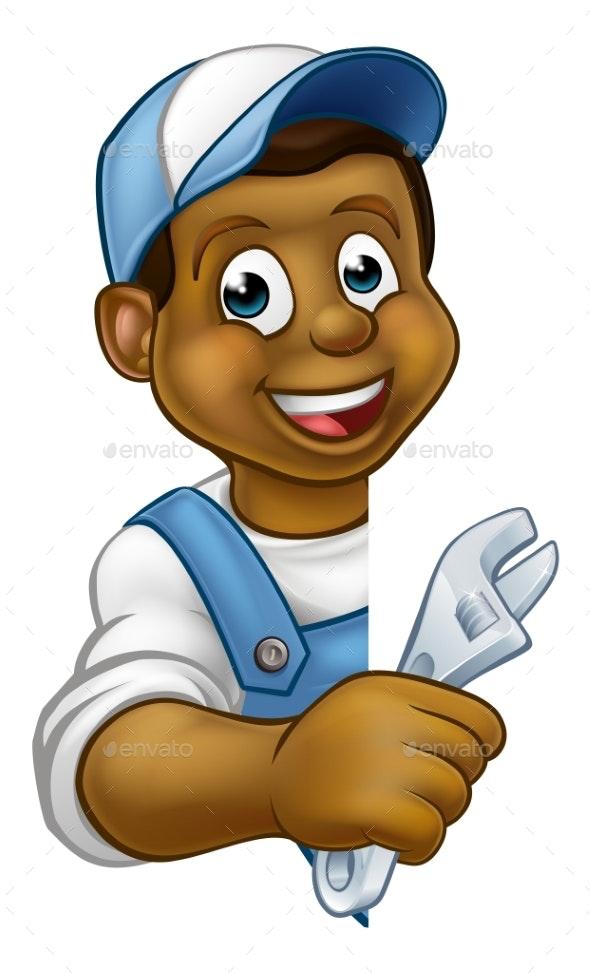 Mechanic Plumber Cartoon Character - People Characters