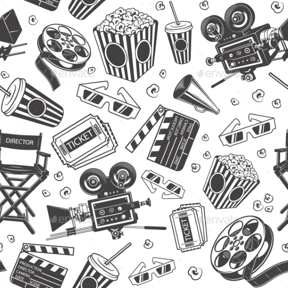 Seamless Pattern with Cinema Elements - Backgrounds Decorative