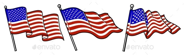 Set of Waving USA Flags - Miscellaneous Seasons/Holidays