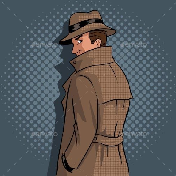 Spy in Raincoat and Hat Pop Art Vector