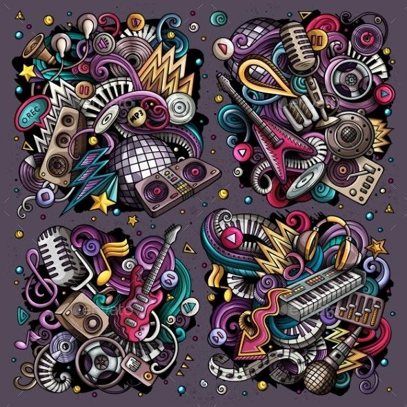 Colorful Vector Doodles Cartoon Set of Disco Music - Miscellaneous Vectors