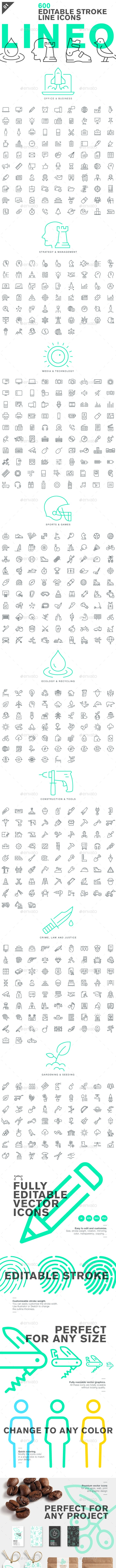 Lineo - Pack 1 - 600 Icons - Icons
