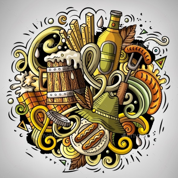 Cartoon Vector Doodles Beer Fest Illustration - Food Objects