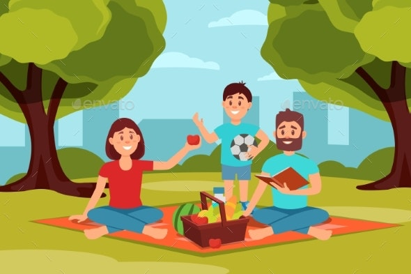 Family on Picnic in Park.  - People Characters