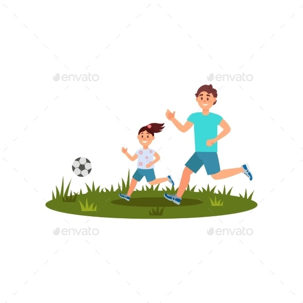Father Playing Football with His Daughter  - People Characters