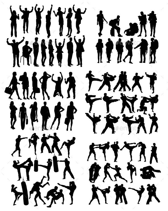 Sport Business and Martial Art Silhouettes - People Characters