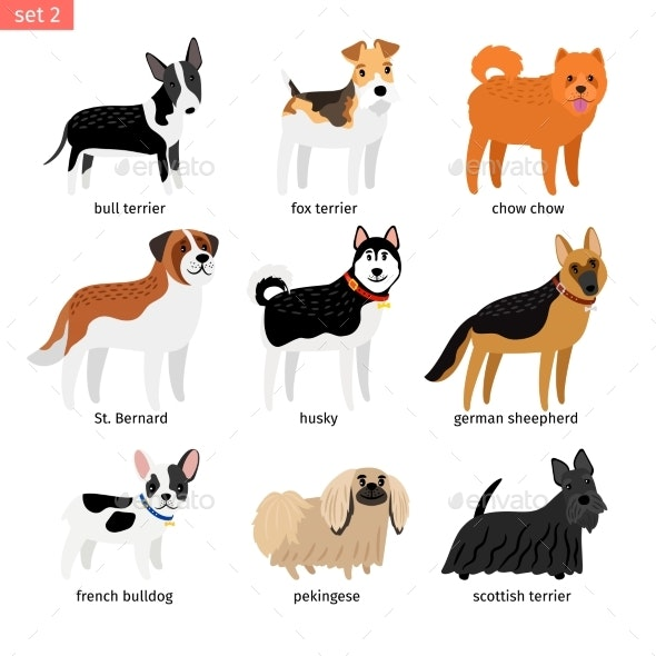 Cartoon Dogs Icons Set - Animals Characters