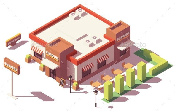 Vector Isometric Low Poly Fast Food Restaurant - Buildings Objects