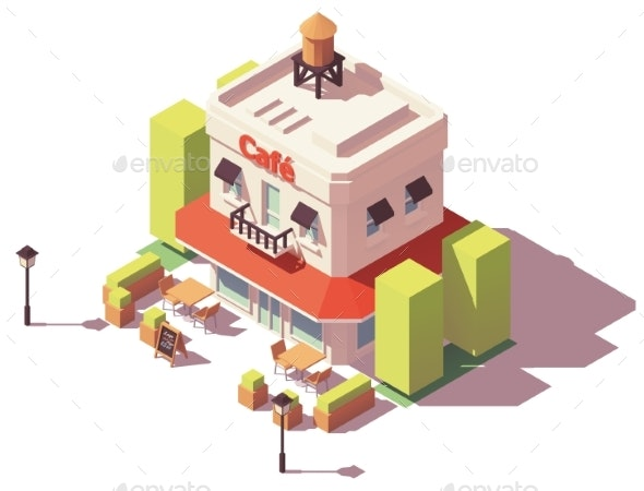Vector Isometric Cafe Building - Buildings Objects