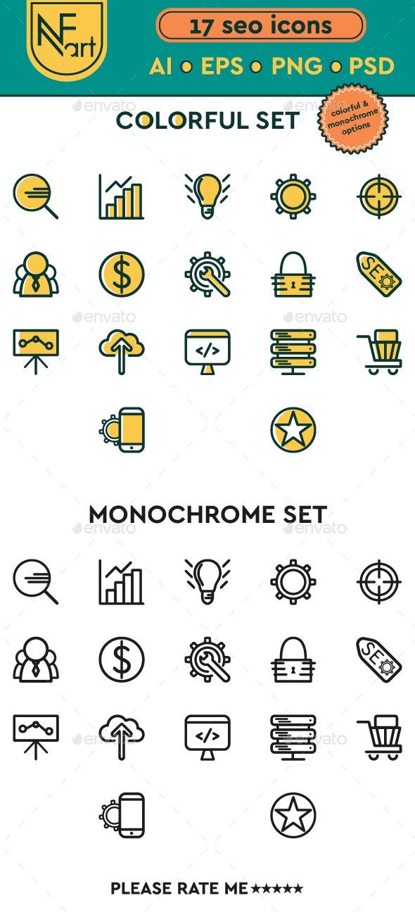 Seo Icon Line Set. Monochrome and Colorful Options - Web Icons
