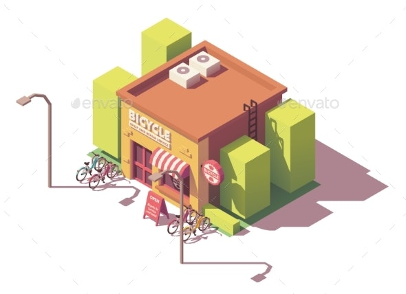 Vector Isometric Bicycle Shop - Buildings Objects