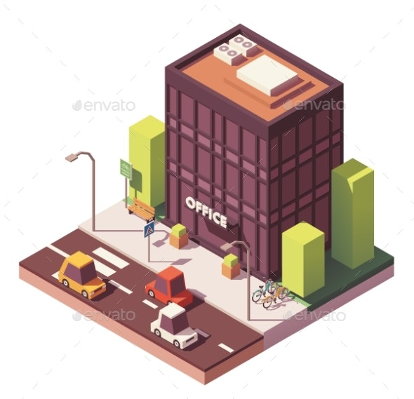 Vector Isometric Office Building - Buildings Objects