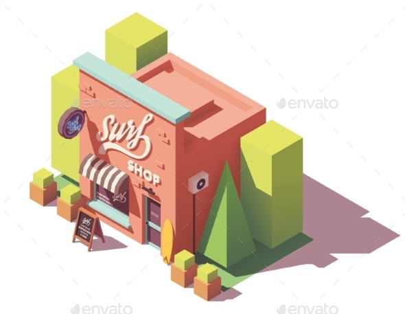 Vector Isometric Surf Shop - Buildings Objects