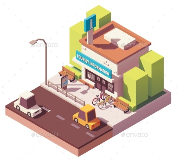 Vector Isometric Tourist Information Center - Buildings Objects