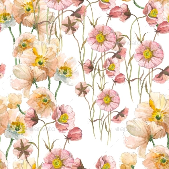 Seamless Pattern Yellow Poppy and Wild Pink Flower - Patterns Backgrounds