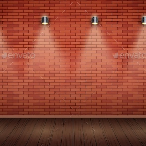 White Brick Wall Room with Vintage Spotlights