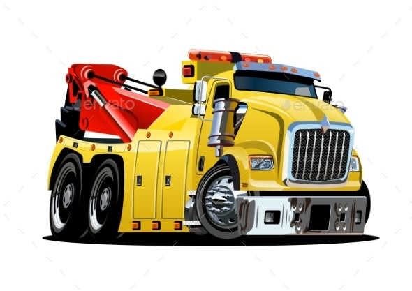 Cartoon Tow Truck - Man-made Objects Objects