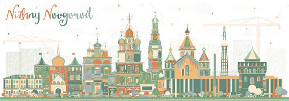 Nizhny Novgorod Russia City Skyline with Color Buildings - Buildings Objects