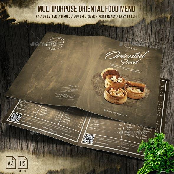 Multipurpose Oriental Bifold Menu - A4 & US Letter