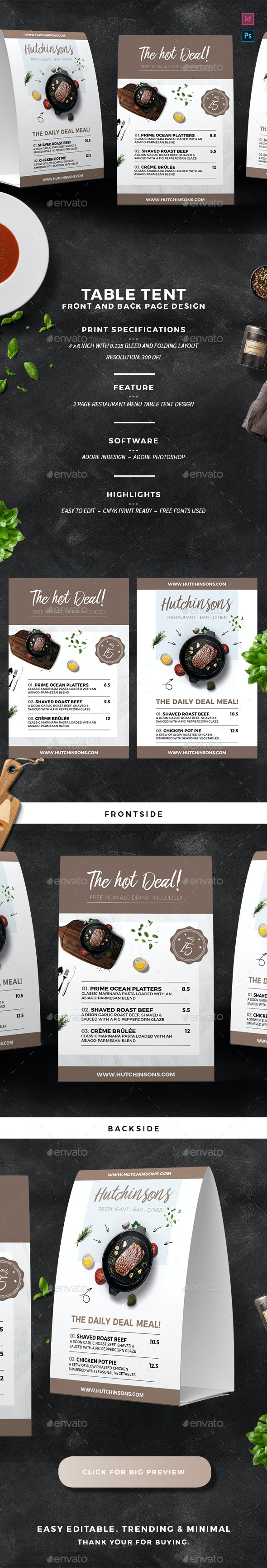 Restaurant Table Tent - Food Menus Print Templates