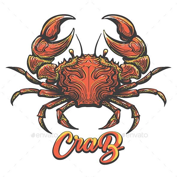 Hand Drawn Crab Illustration - Tattoos Vectors