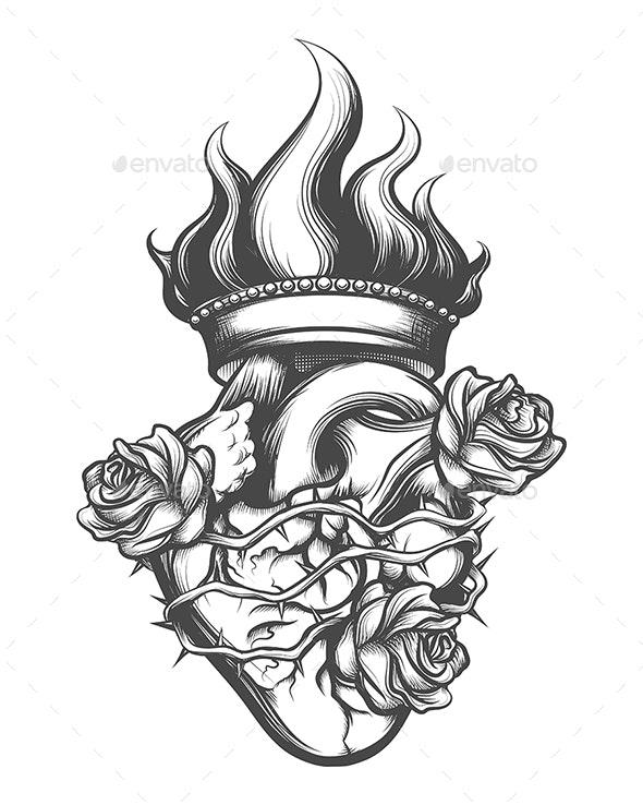 Sacred Heart Engraving Illustration - Tattoos Vectors