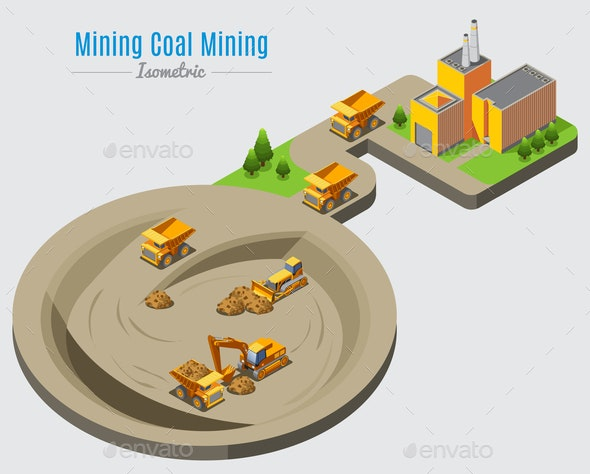 Isometric Coal Mining Concept - Industries Business