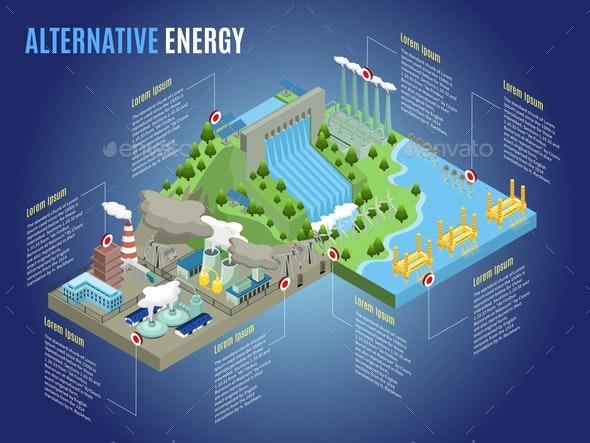 Isometric Alternative Energy Infographic Template - Industries Business