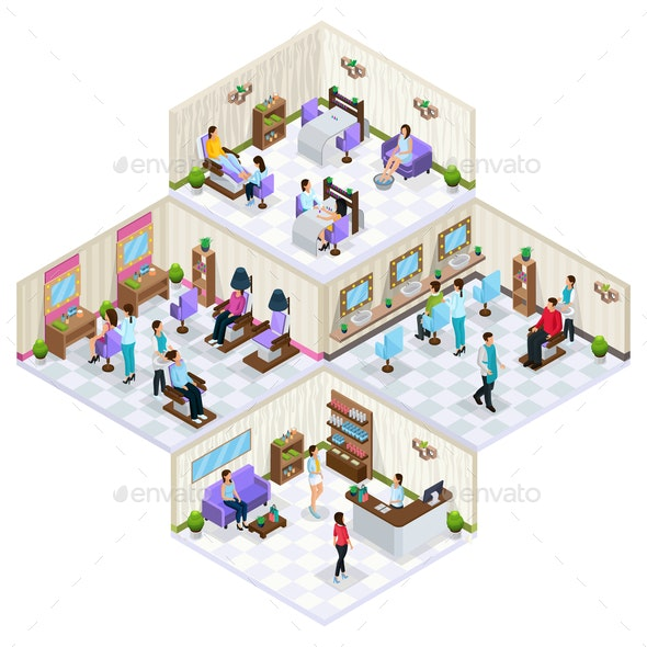 Isometric Beauty Salon Interior Concept - People Characters