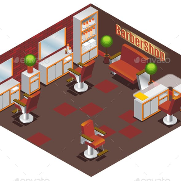 Isometric Barber Shop Interior Concept