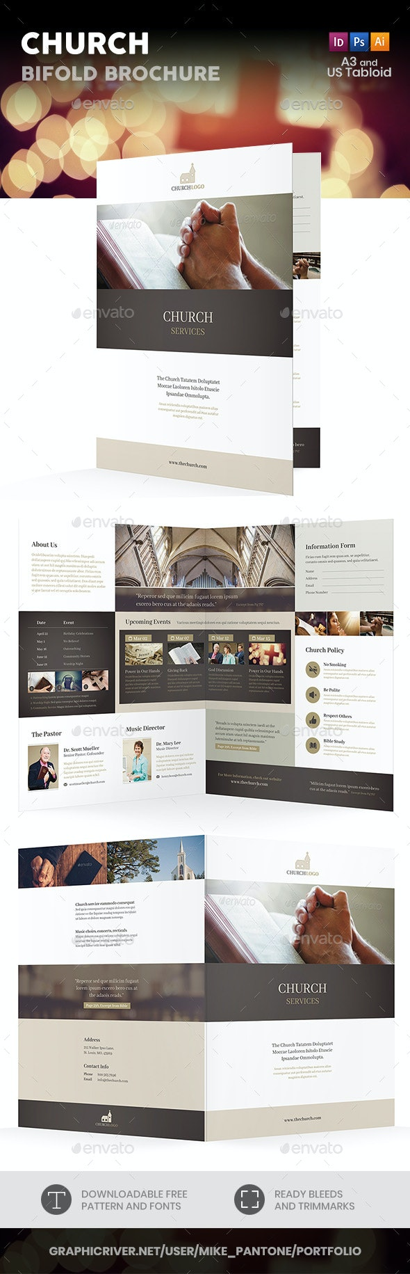 Church Bifold / Halffold Brochure 4 - Informational Brochures