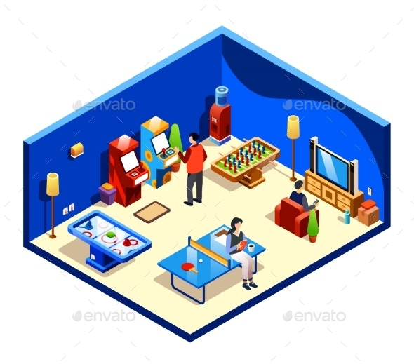 Vector Isometric People at Recreation Room - Man-made Objects Objects