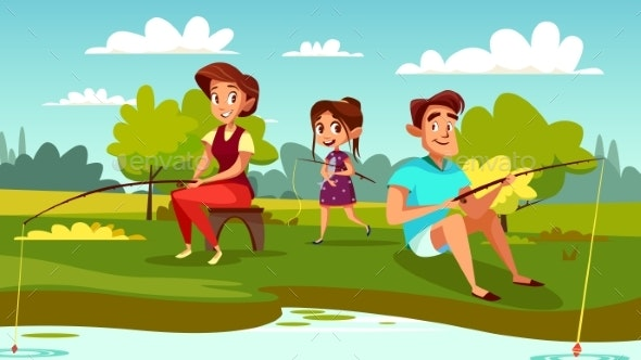 Family Fishing Vector Cartoon Illustration - People Characters