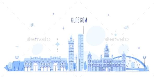 Glasgow Skyline Scotland UK Vector City Buildings - Buildings Objects