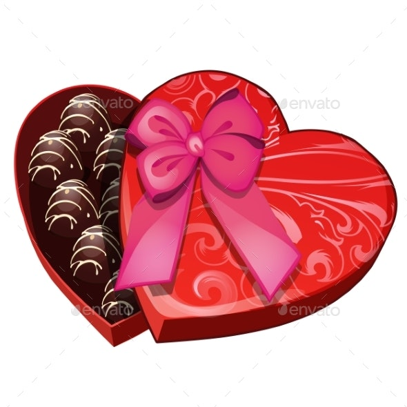 Box of Chocolates in Shape of Heart - Food Objects