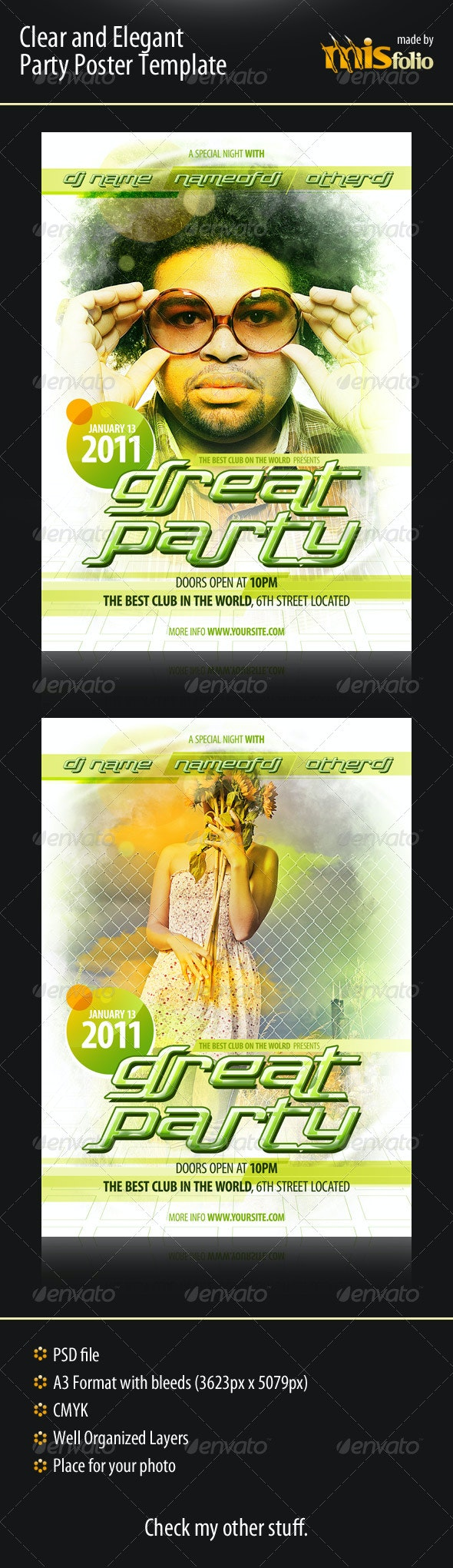 Clear and Elegant Party Poster Template - Clubs & Parties Events