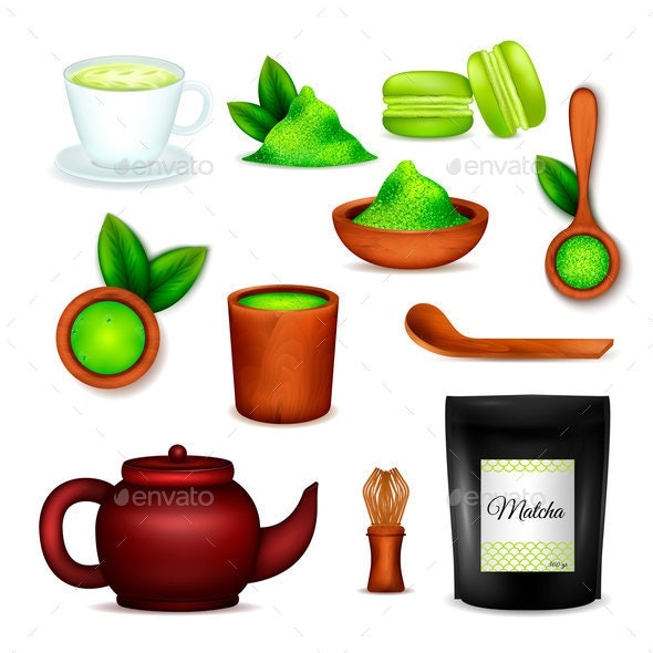 Matcha Tea Realistic Set - Food Objects
