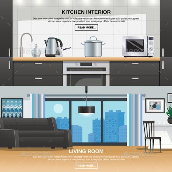Modern Kitchen Interior Design Banners