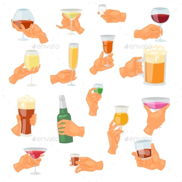 Beverage in Hand Vector Drinking Alcoholic - Food Objects
