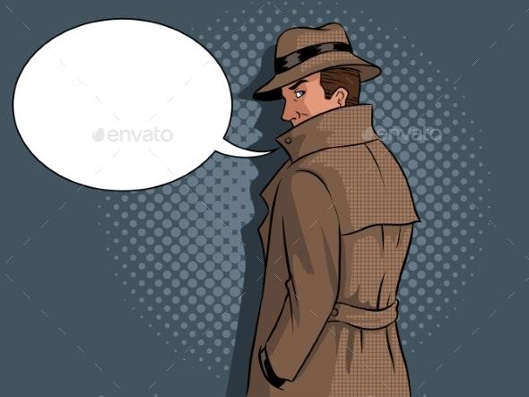 Spy in Raincoat and Hat Pop Art Vector - Miscellaneous Vectors