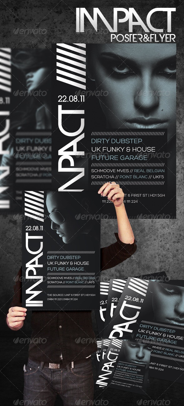 Impact A3 Poster & A5 Flyer - Clubs & Parties Events