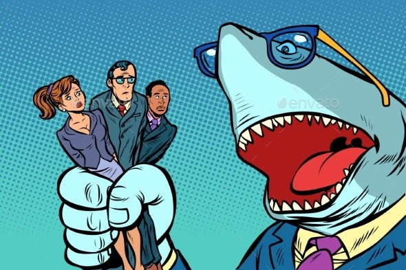 Shark Boss Business and Office Staff - People Characters