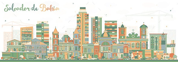 Salvador de Bahia City Skyline with Color Buildings - Buildings Objects