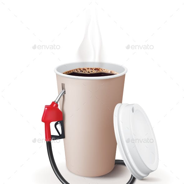 Paper Cup of Coffee with Dispenser
