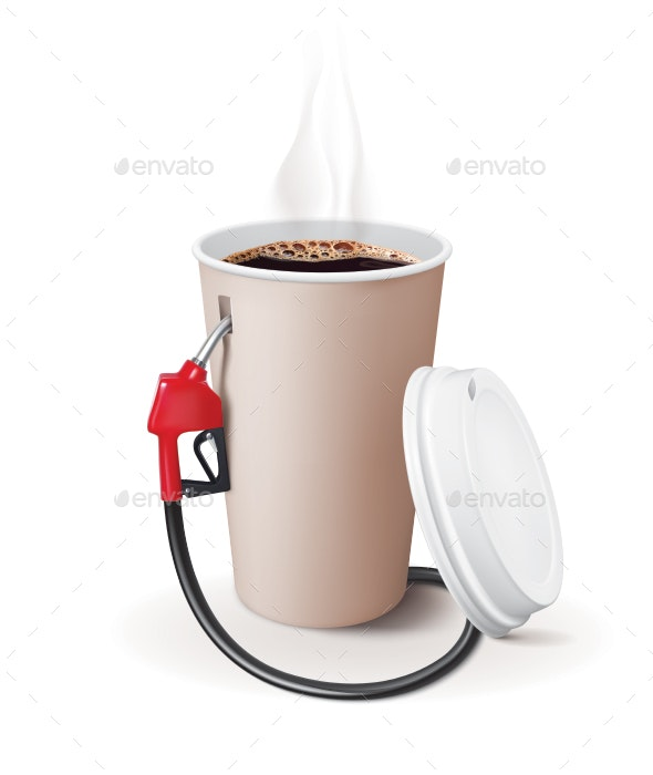 Paper Cup of Coffee with Dispenser - Food Objects