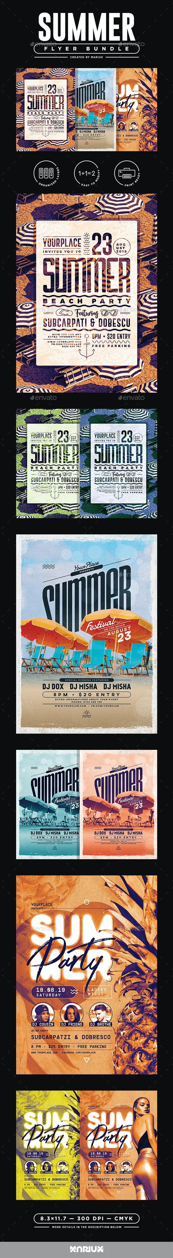 Summer Flyer/Poster Bundle - Clubs & Parties Events
