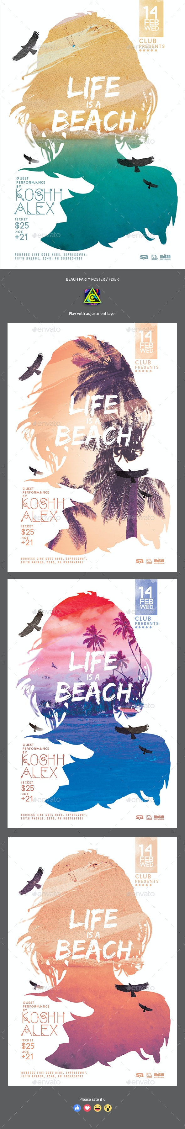 Beach Party Poster / Flyer - Clubs & Parties Events